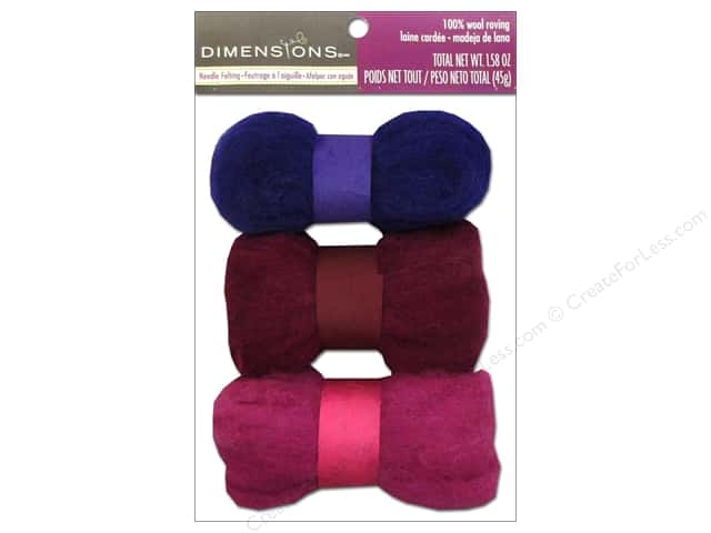 Dimensions 100% Wool Roving Trio Purple/Rose
