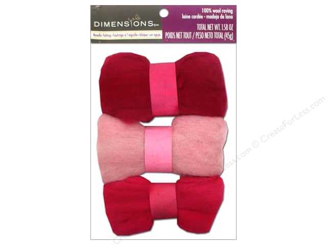 Dimensions 100% Wool Roving Trio Pinks