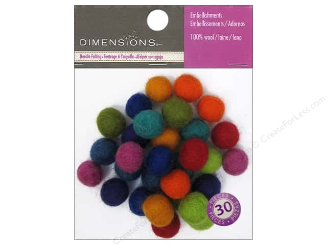 Dimensions 100% Wool Felt Embellishment Ball 1cm Astd