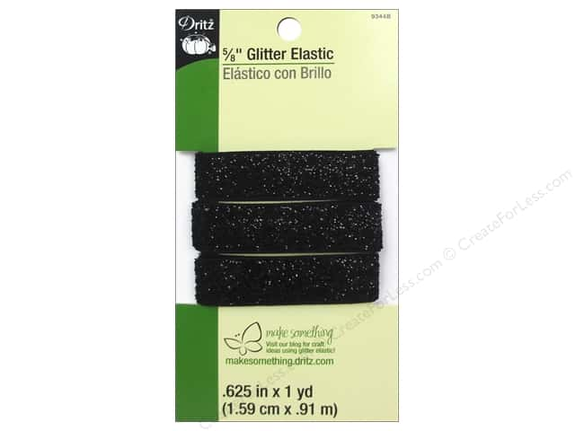 Glitter Elastic by Dritz 5/8 in. x 1 yd. Black