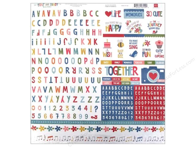 Echo Park Sticker 12 x 12 in. Fine And Dandy Collection Alpha (15 sets)