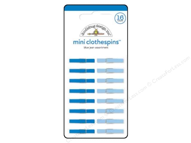 Doodlebug Embellishment Mini Clothespins Blue Jeans