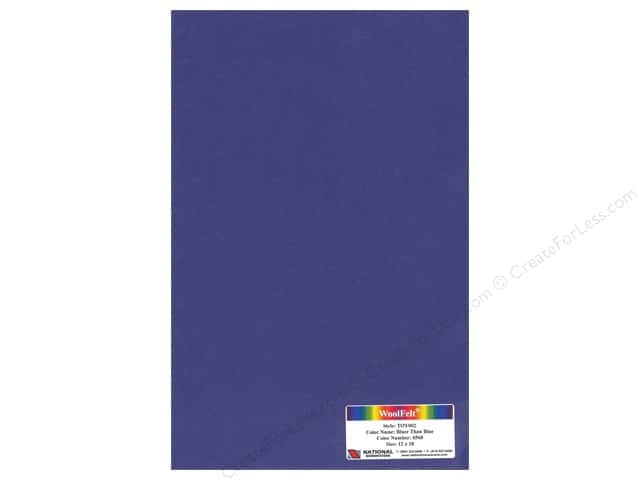 "National Nonwovens WoolFelt 12""x 18"" 35% 12x18 Bluer Than Blue (10 sheets)"
