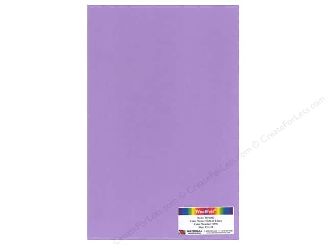 National Nonwovens 35% Wool Felt 12 x 18 in. Field of Lilacs