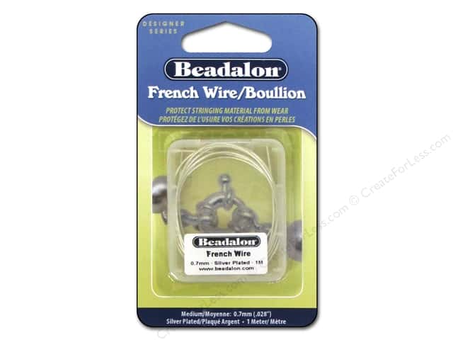 Beadalon French Wire 0.7 mm (.028 in.) Silver Plated 1 m (39.3 in.)