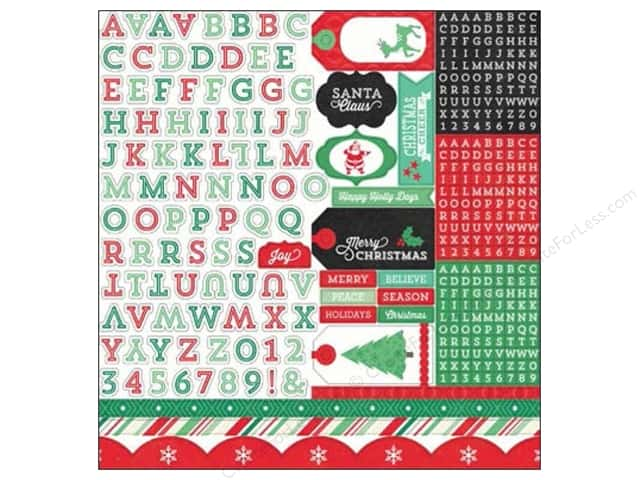Echo Park Sticker 12 x 12 in. Christmas Cheer Collection Alpha (15 sets)