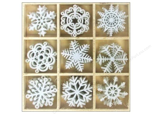 Sierra Pacific Crafts Decor Felt Ornament Snowflakes 1.5 in. 36 pc White