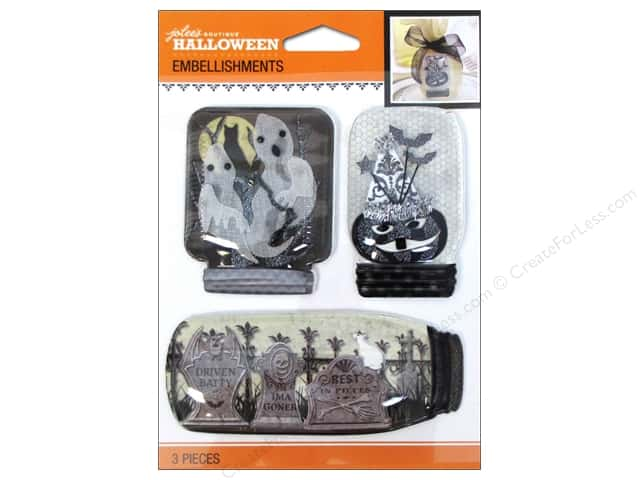 Jolee's Boutique Halloween Embellishments Mason Jar Black & White
