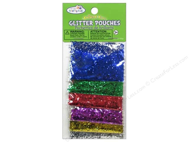 Multicraft Krafty Kids Glitter Pouches 12g Mini Hexagon