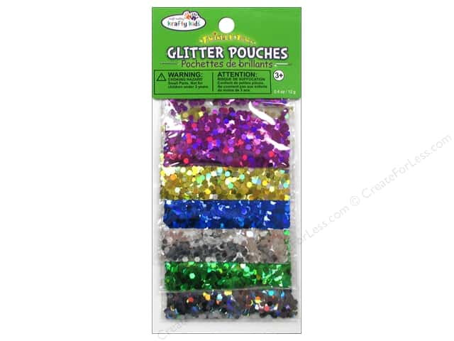 Multicraft Krafty Kids Glitter Pouches 12g Big Hexagon