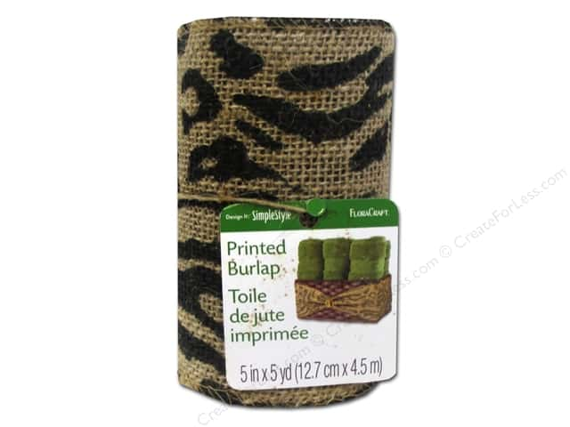FloraCraft Burlap Ribbon 5 in. x 5 yd. Animal Print Black