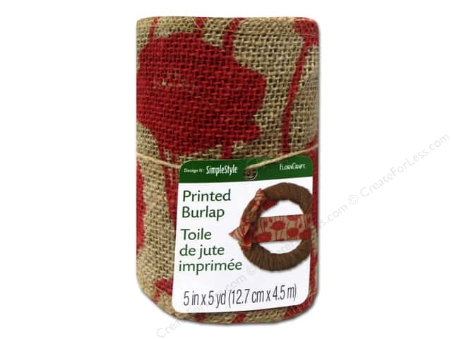 FloraCraft Burlap Ribbon 5 in. x 5 yd. Poppy Red
