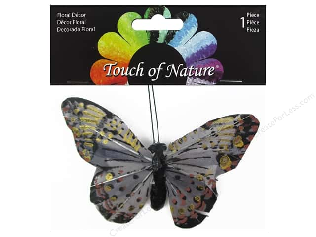 Midwest Design Butterfly 4'' Feather with Clip Grey 1pc