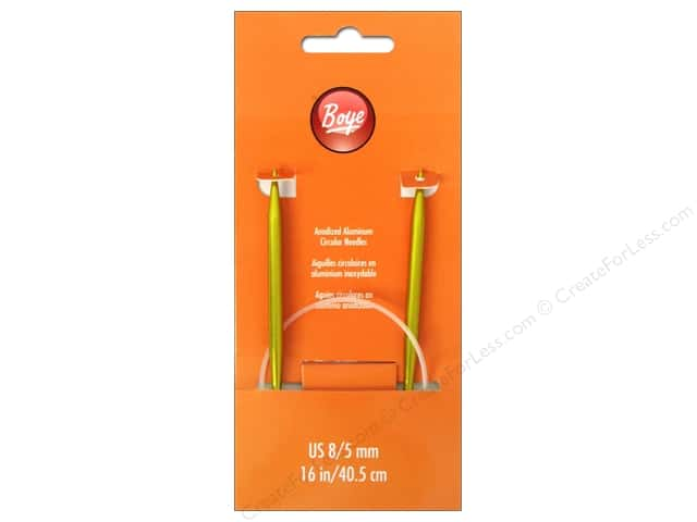 Boye Circular Knitting Needles Aluminum 16 in. Size 8 (5 mm)
