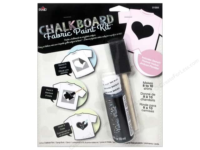 Plaid Chalkboard Paint Fabric Kit Heart Stencil