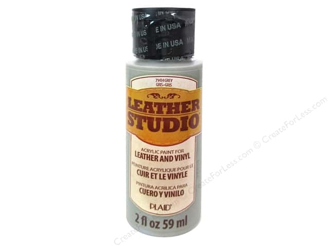 Plaid Leather Studio Leather & Vinyl Paint 2 oz. Grey