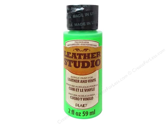 Plaid Leather Studio Leather & Vinyl Paint 2 oz. Neon Green