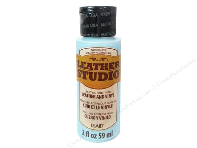 Plaid Leather Studio Leather & Vinyl Paint 2 oz. China Blue