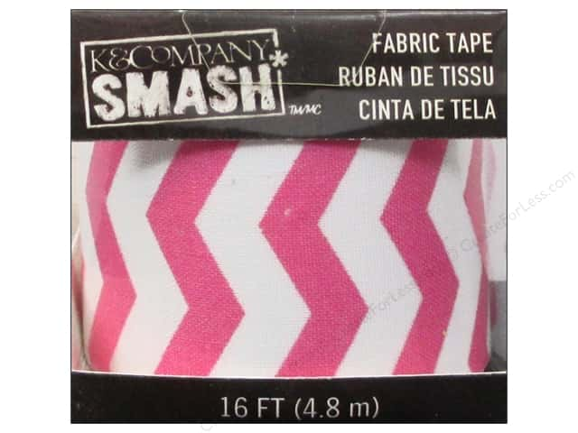 K&Company Smash Fabric Tape Zig Zag Pink and White