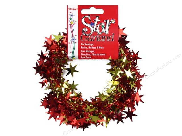 Darice Star Garland 25 ft. Red and Gold