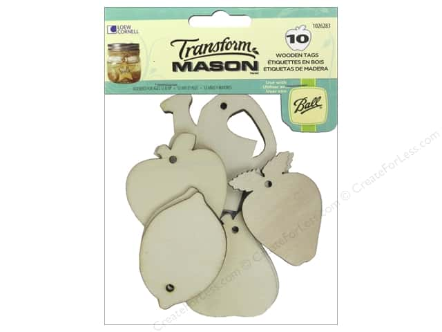Loew Cornell Transform Mason Wooden Tags 10 pc. Fresh Fruit