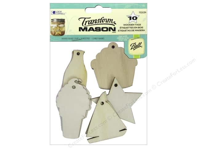 Loew Cornell Transform Mason Wooden Tags 10 pc. Summer Holiday