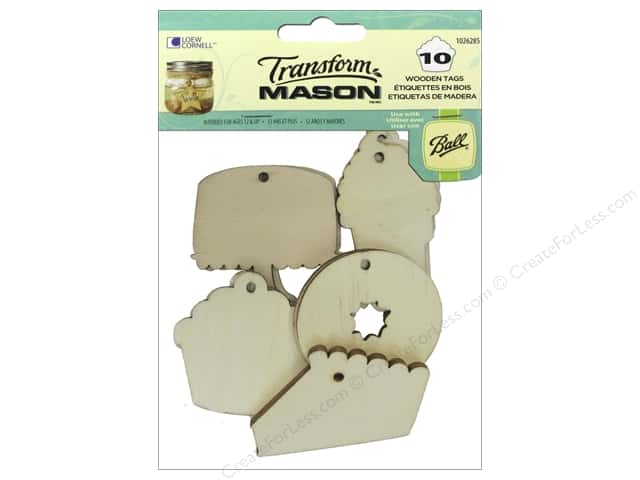 Loew Cornell Transform Mason Wooden Tags 10 pc. Sweet Treats