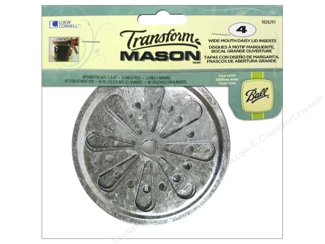 Loew Cornell Transform Mason Lid Inserts 4 pc. Wide Mouth Daisy