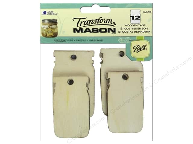 Loew Cornell Transform Mason Wooden Tags 12 pc. Mason Jar