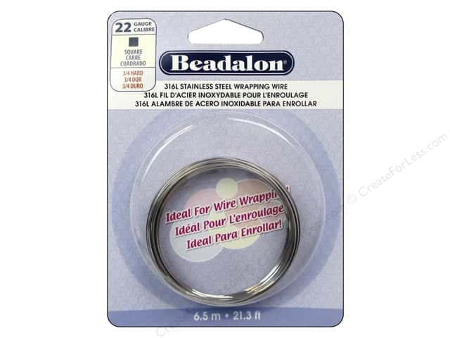 Beadalon 316L Stainless Steel Wrapping Wire 22 ga Square 21.3 ft.