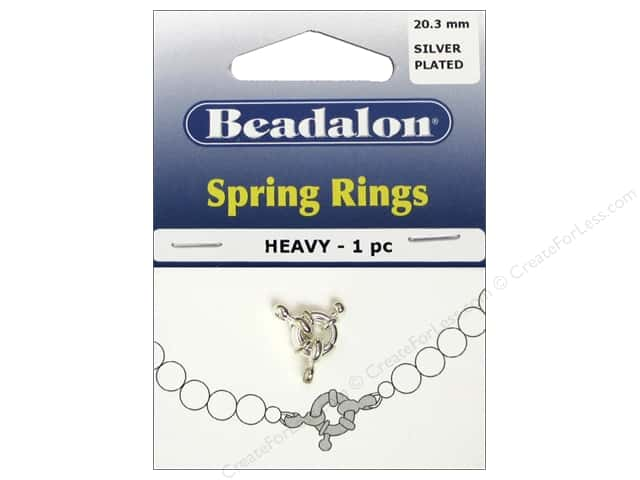 Beadalon Spring Ring Clasps Heavy 9.4 mm Silver Plated 1 pc.