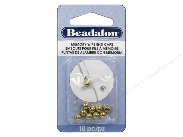 Beadalon Memory Wire End Caps 5 mm Round 10 pc. Gold Color
