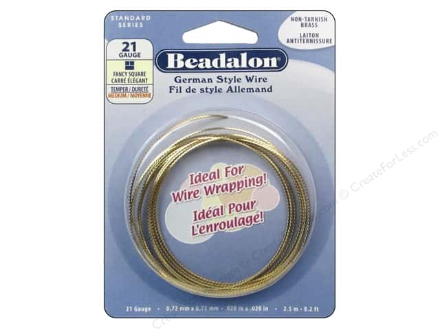 Beadalon German Style Wire 21ga Fancy Square Tarnish Resistant Brass 8.2 ft.