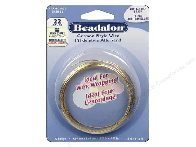 Beadalon German Style Wire 22ga Fancy Square Tarnish Resistant Brass 11.5 ft.