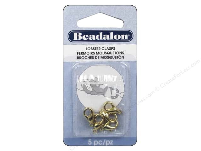 Beadalon Lobster Clasps 12.8 mm Small Gold Color 5 pc.