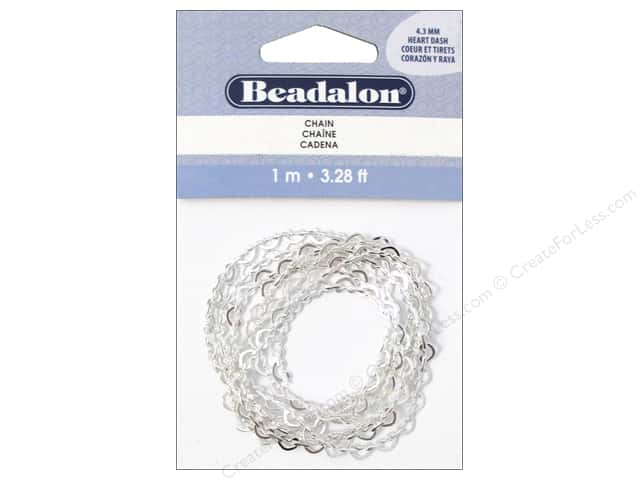 Beadalon Chain 4.3 mm Heart Dash Silver Plated 1M