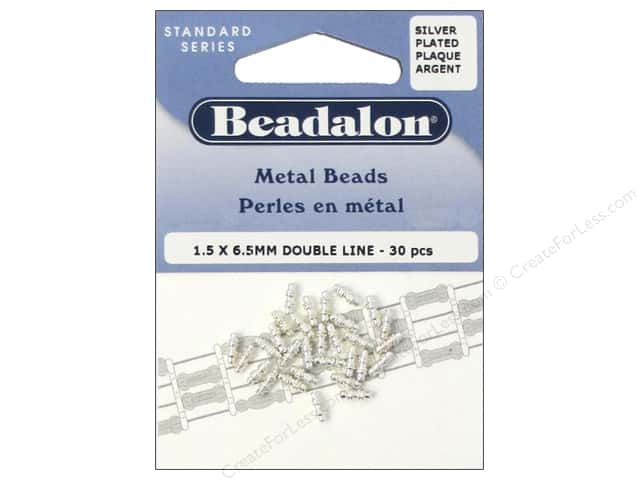 Beadalon Metal Beads 1.5 x 6.5 mm Double Line Silver Plated 30 pc.