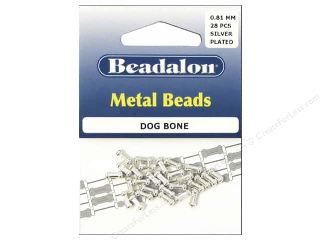 Beadalon Metal Beads 3 x 7 mm Dog Bone Silver Plated 28 pc.