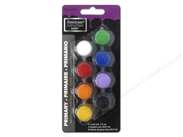 DecoArt Americana Multi-Surface Paint Pot 8-Color Primary