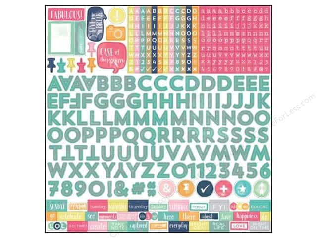 Echo Park 12 x 12 in. Stickers Creative Agenda Collection Alpha (15 sets)