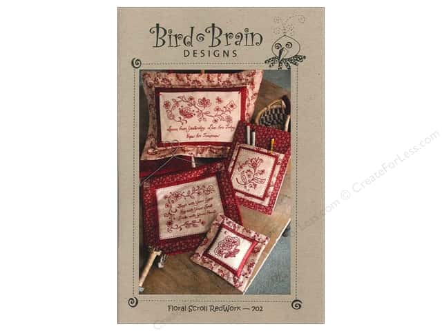 Bird Brain Designs Floral Scroll Redwork Pattern