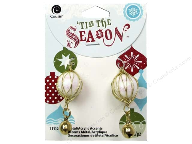 Cousin Tis The Season Christmas Drop Bell Metal/Acrylic Gold/White