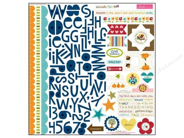 Bella Blvd Stickers Hello Autumn Treasures & Text (12 sets)