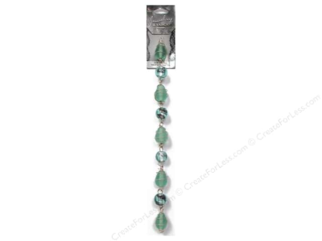 Cousin Basics Glass Beads 1/2 in. Wire Wrapped Light Teal 9 pc.