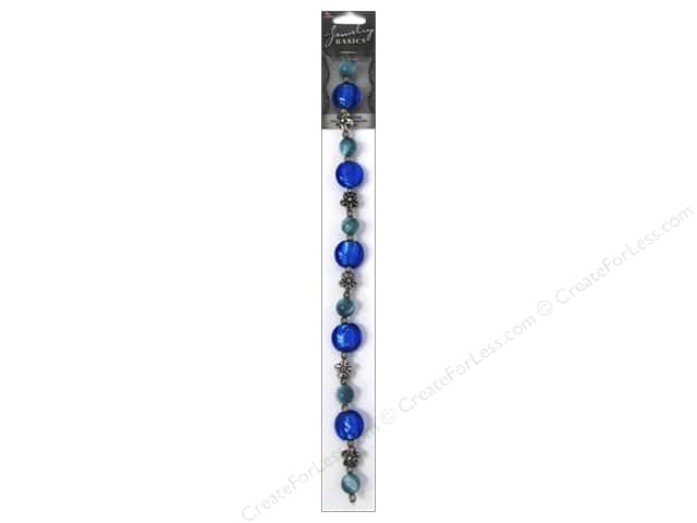 Cousin Basics Glass and Metal Beads 5/8 in. Round Blue Silver