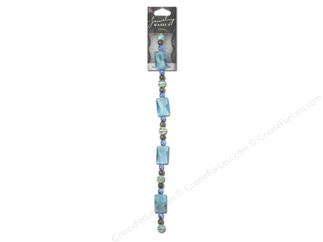 Cousin Basics Glass and Metal Beads 11/16 in. Rectangle Swirl Teal 25 pc.