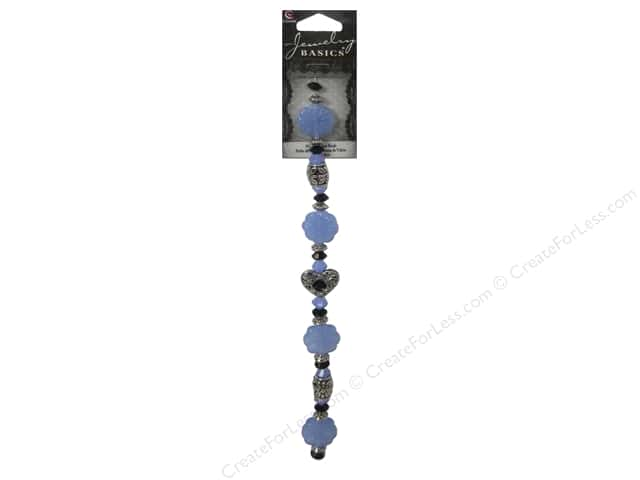 Cousin Basics Glass and Metal Beads 5/8 in. Blue Milk Silver