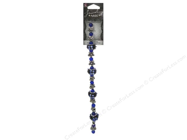 Cousin Basics Glass and Metal Beads 1/2 in. Blue Silver
