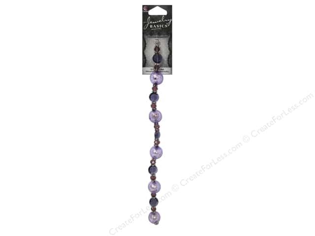 Cousin Basics Glass and Acrylic Beads 5/8 in. Purple Silver