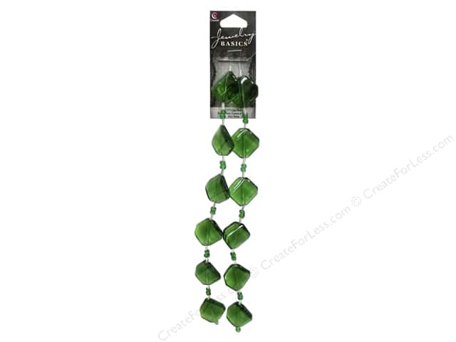 Cousin Basics Glass Beads 3/4 in. Square Twist Green